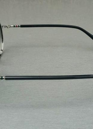 Gucci очки унисекс солнцезащитные модные круглые линзы серый градиент в серебристом металле3 фото