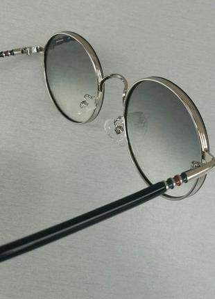 Gucci очки унисекс солнцезащитные модные круглые линзы серый градиент в серебристом металле9 фото