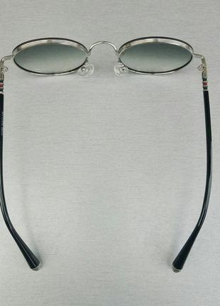 Gucci очки унисекс солнцезащитные модные круглые линзы серый градиент в серебристом металле6 фото
