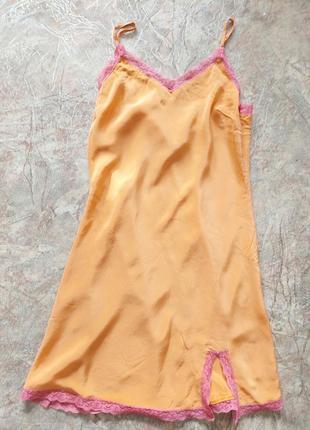 Натуральный шелк шелковый пеньюар ночнушка сорочка
