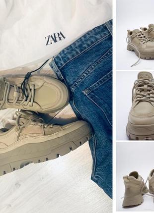 Новые бежевые кроссовки zara 37 тренд подошва платформа
