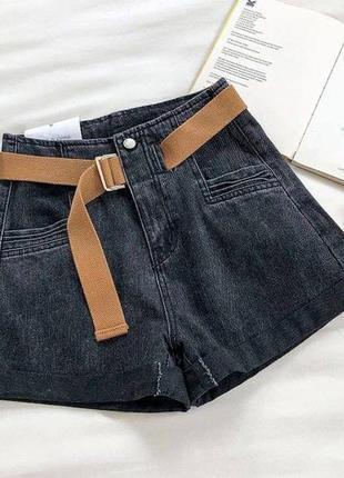 Женские стильные джинсовые шорты с ремнем