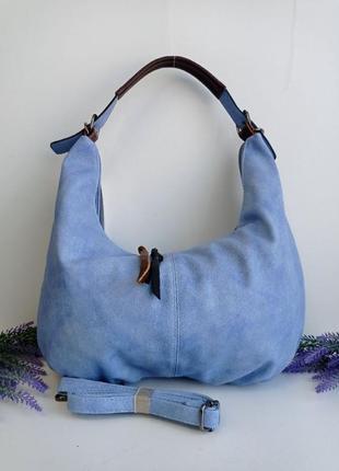 Сумка женская на плечо с большой ручкой на замке,много кармашков синяя лазурь, голубая небесный цвет