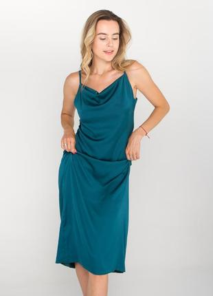 Шелковое платье в пижамном стиле, притальное легкое платье, жіноча вечірня сукня