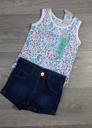 Комплект майка джинсовые шорты футболка шорти primark 74 6-9 месяцев