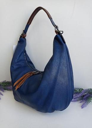Женская молодежная сумка через плечо на длинной ручке синяя голубая большая удобная