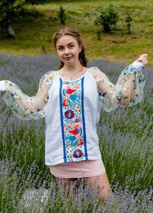 Льняна сорочка з ручною вишивкою, вишиванка