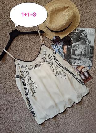 Шикарный топ с бусинами и вышивкой/майка/блузка/блуза
