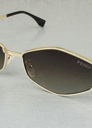 Fendi очки женские солнцезащитные модные узкие коричневый градиент в золотом металле
