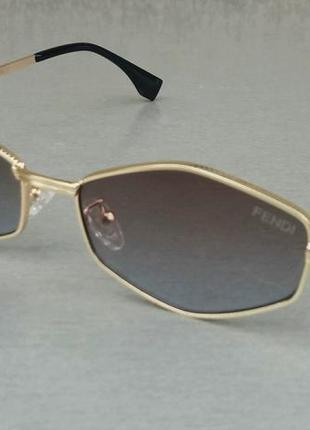 Fendi очки женские солнцезащитные модные узкие серо бежевый градиент в золотом металле