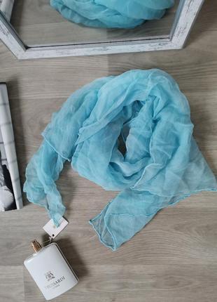 Лёгкий, невесомый шелковый шарф, шов роуль