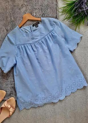 Нежный легкий топ хлопковая блуза  из прошвы