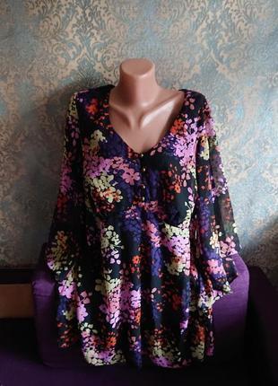 Красивая женская пляжная туника блуза блузка в цветочек большой размер батал 50 /52/54