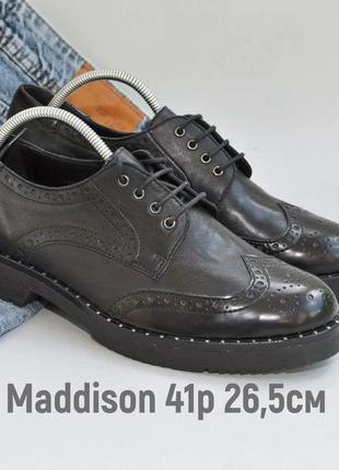 Кожаные туфли лоферы оксфорды 41р