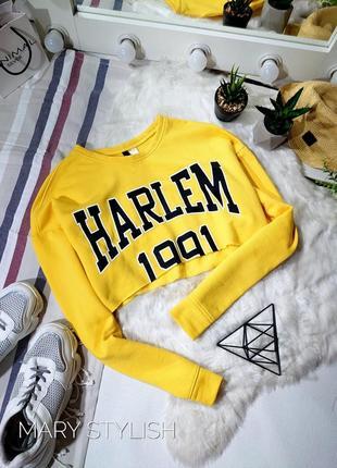 Укороченный оверсайз свитшот, цвет желтый.