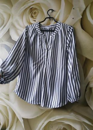 Натуральная блуза из вискозы в полоску