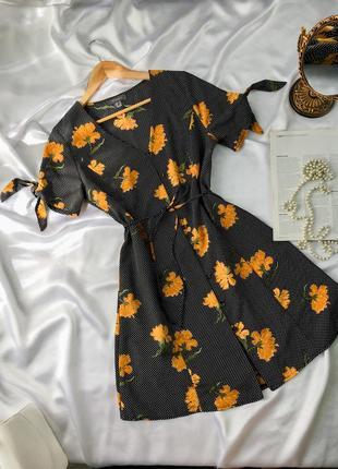 Платье с поясом на пуговмцах под винтаж ретро в цветочный принт винтажное милое ретро с пуговицами миди