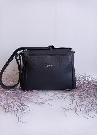 Сумка кожаная на длинном ремешке, черная через плечо пр-во италия, genuine leather сумка жіноча шкіряна