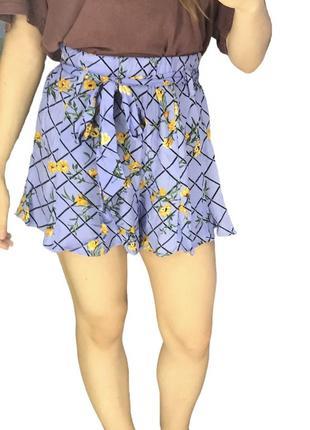 Шелковые шорты принт цветочный на поясе рюши ромбик