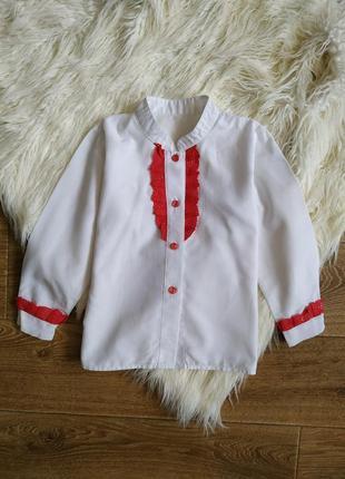 Школьная рубашка блуза c рюшами, длинный рукав р.6 (116 см)
