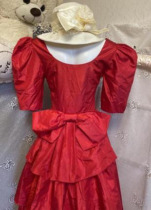 Винтажное макси красное платье принцесса буфы большой бант