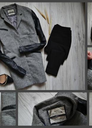 Пальто с кожаными рукавами bershka