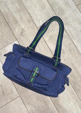 Синяя тканевая сумка,багет,the sak