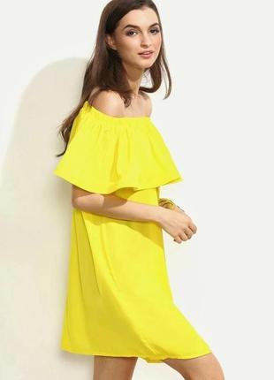 Sale!!красивое яркое желтое платье на плечики