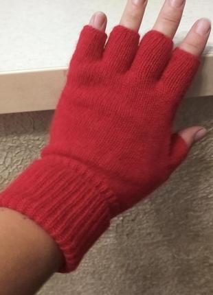Шерстяные красные митенки,перчатки yes or no