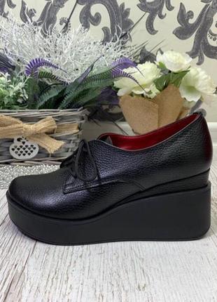 36-41 рр туфли, ботинки, ботильоны невысокая танкетка на шнурках натуральная кожа/замша1 фото