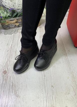 36-41 рр туфли, ботинки, ботильоны невысокая танкетка на шнурках натуральная кожа/замша3 фото