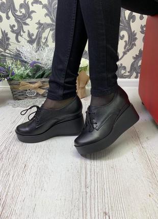 36-41 рр туфли, ботинки, ботильоны невысокая танкетка на шнурках натуральная кожа/замша2 фото