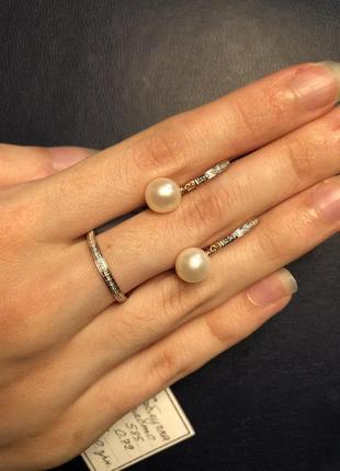 Кольцо дорожка с бриллиантами в розовом золоте 585, 16, 17 размер