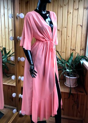 Персиковая длинная с поясом шифоновая туника, халат с воланами