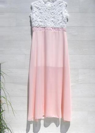Длинное белое розовое ажурное платье с кружевом и шифоном