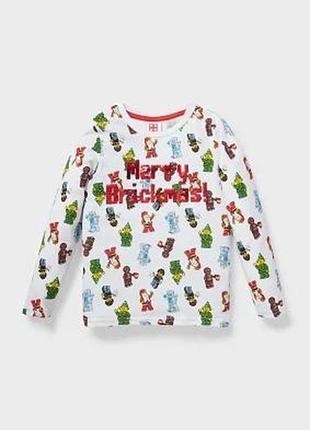 110,116,122,128,134. лонгслив новогодний,футболка с длинным рукавом лего c&a. в наличии!
