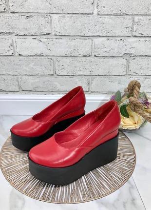 35-41 рр женские туфли на средней/высокой танкетке натуральная кожа/замша много цветов3 фото