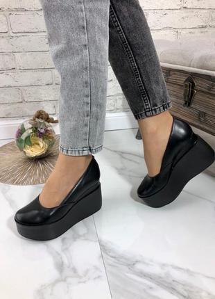 35-41 рр женские туфли на средней/высокой танкетке натуральная кожа/замша много цветов2 фото