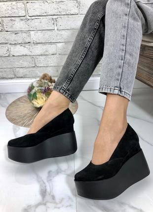 35-41 рр женские туфли на средней/высокой танкетке натуральная кожа/замша много цветов4 фото