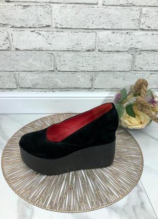 35-41 рр женские туфли на средней/высокой танкетке натуральная кожа/замша много цветов7 фото