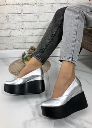 35-41 рр женские туфли на средней/высокой танкетке натуральная кожа/замша много цветов