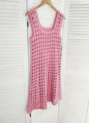 Вязаное крючком платье, пляжное платье, сарафан, розовое