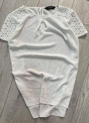Нарядная белая шифоновая блуза с кружевом большого размера