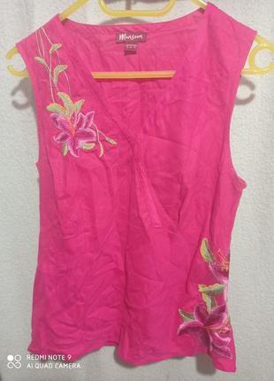 🔥 распродажа.❗🔥 супер майка блуза туника малиновая розовая лен 💯 шелк 💯 с вышивкой! monsoon