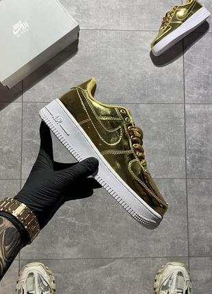 Nike air force low gold🆕женские кожаные и лакированые найк аир форс🆕залотистые кроссовки