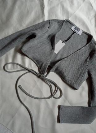 Топ с завязками,кофта в рубчик,свитер