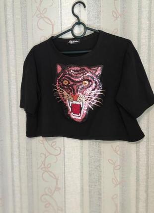 Женская укороченная футболка кроп топ оверсайз, на р.44-46-48,   s/m