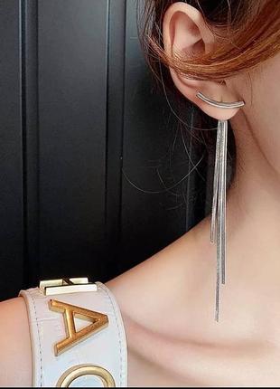 Серьги трансформеры серебро сережки длинные