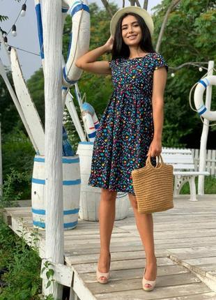 Стильное платье цветочный принт, штапель