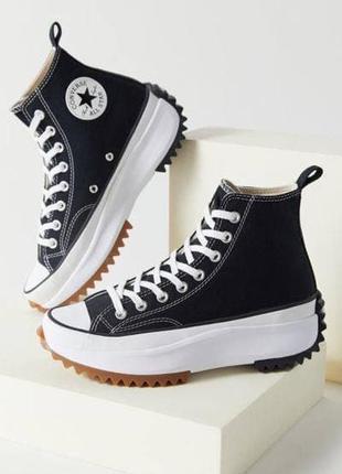 Converse run star hike🆕женские высокие кеды конверс олл стар🆕черно-белые кроссовки